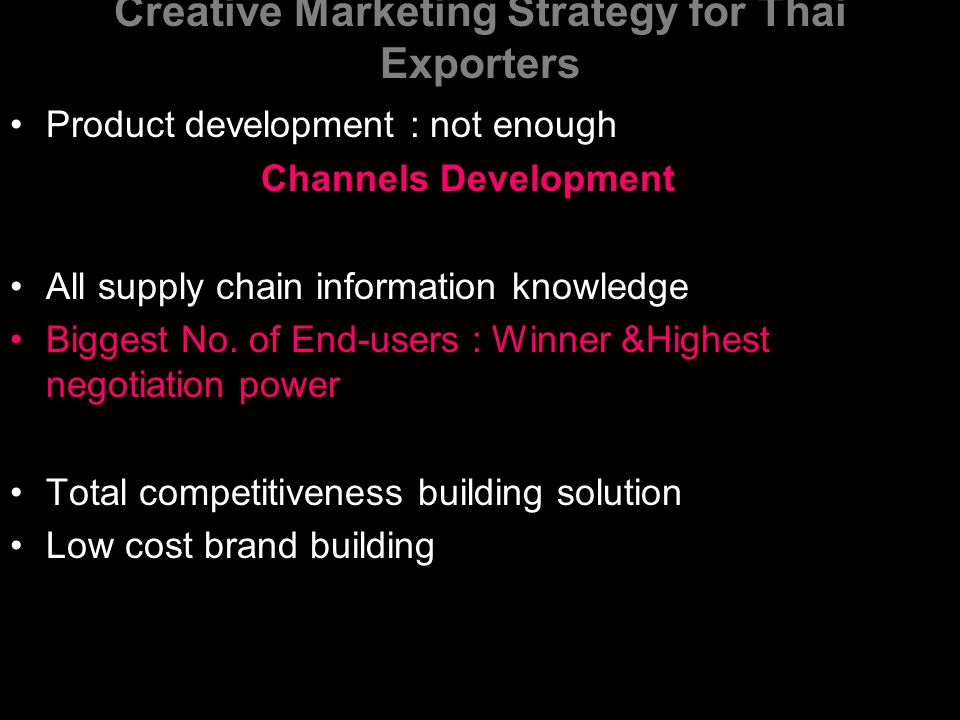 Creative Marketing Strategy for Thai Exporters