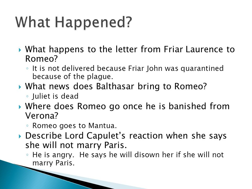 What Happened What happens to the letter from Friar Laurence to Romeo
