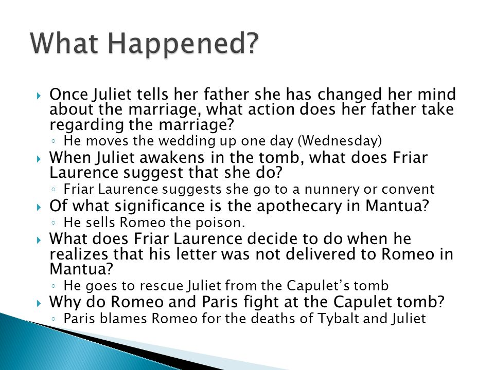 What Happened Once Juliet tells her father she has changed her mind about the marriage, what action does her father take regarding the marriage
