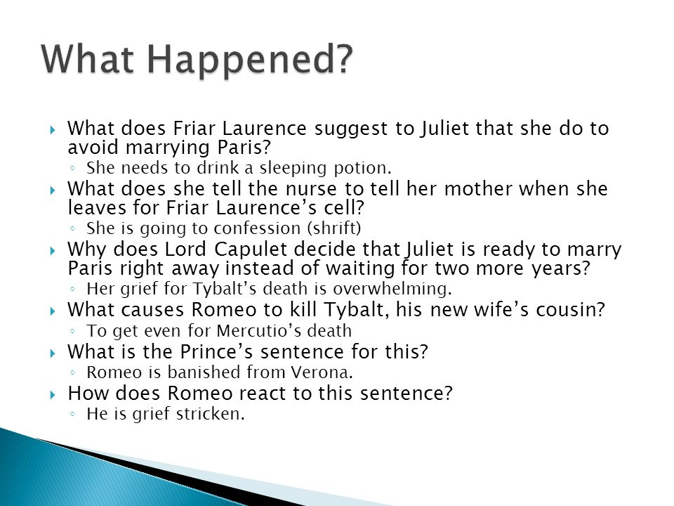 What Happened What does Friar Laurence suggest to Juliet that she do to avoid marrying Paris She needs to drink a sleeping potion.
