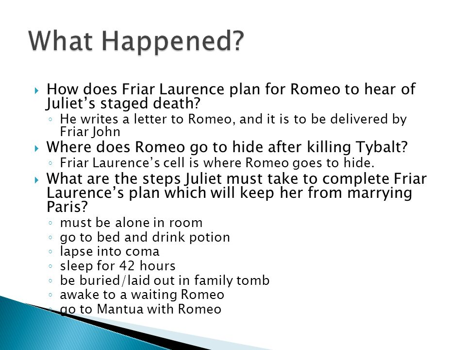 What Happened How does Friar Laurence plan for Romeo to hear of Juliet's staged death