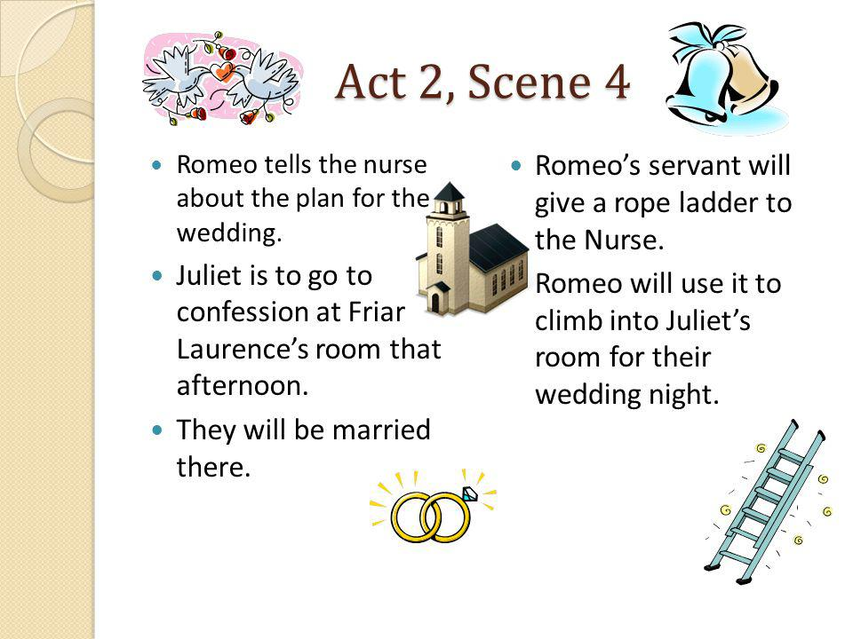 Act 2, Scene 4 Romeo's servant will give a rope ladder to the Nurse.