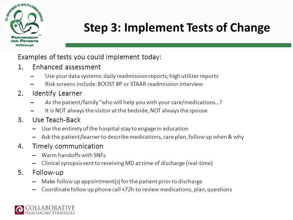Step 3: Implement Tests of Change