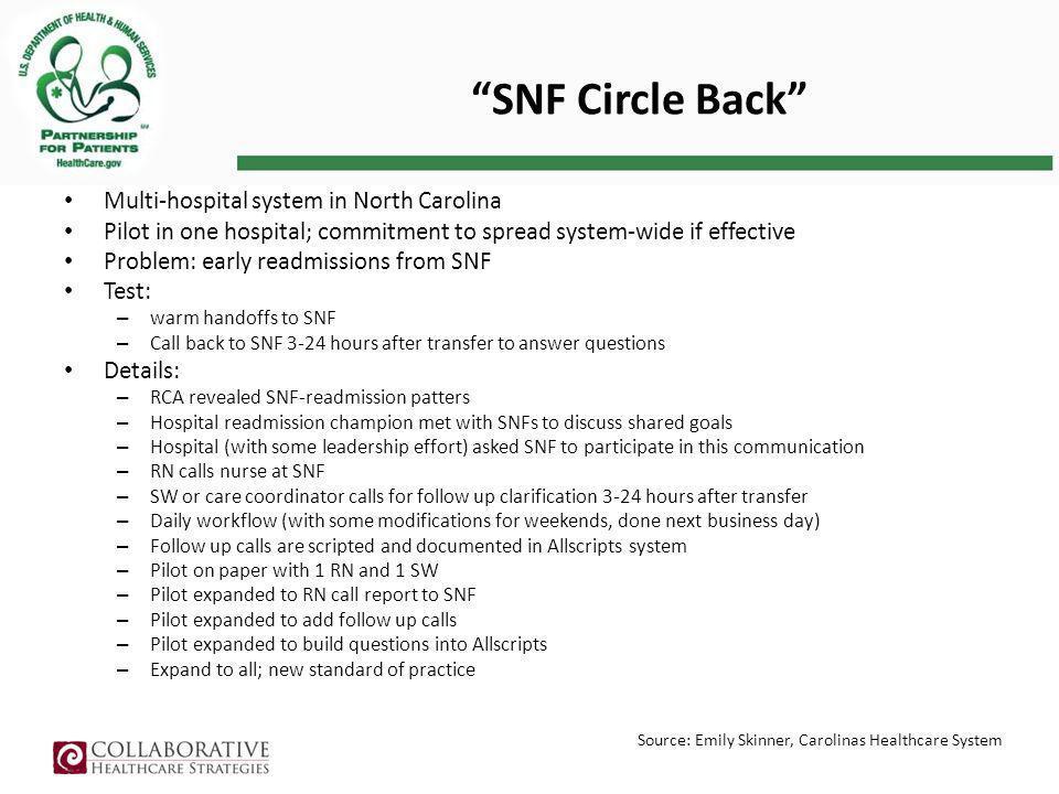 SNF Circle Back Multi-hospital system in North Carolina