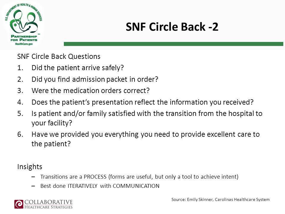 SNF Circle Back -2 SNF Circle Back Questions