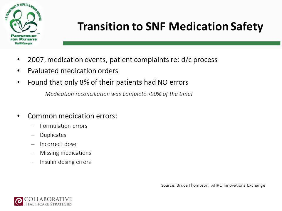 Transition to SNF Medication Safety