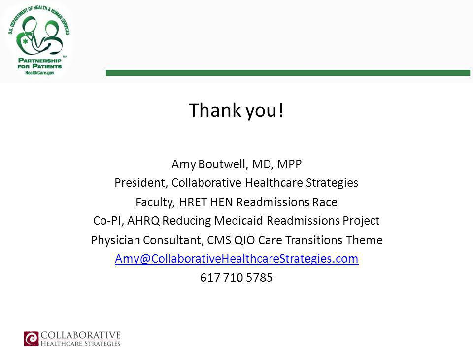 Thank you! Amy Boutwell, MD, MPP