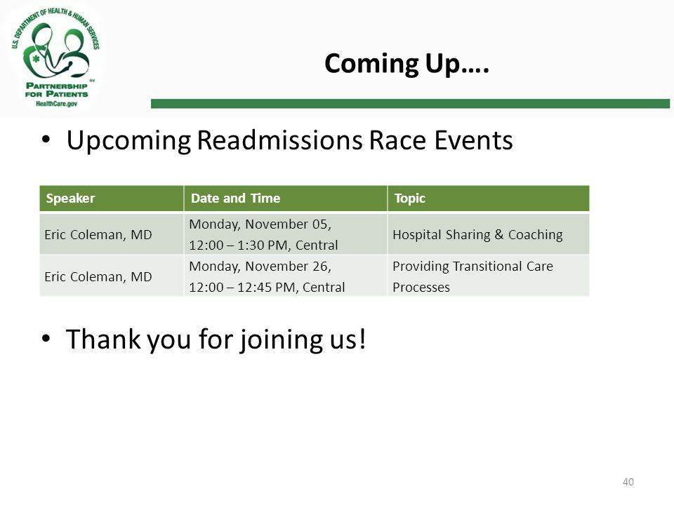 Upcoming Readmissions Race Events