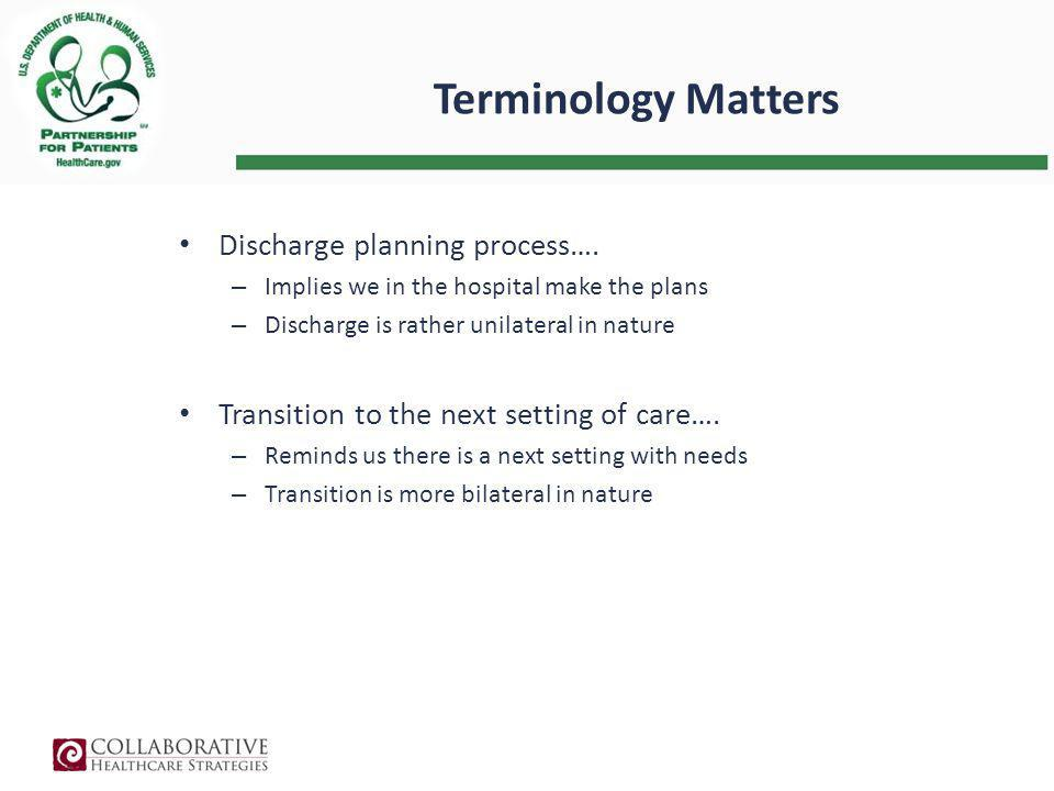 Terminology Matters Discharge planning process….