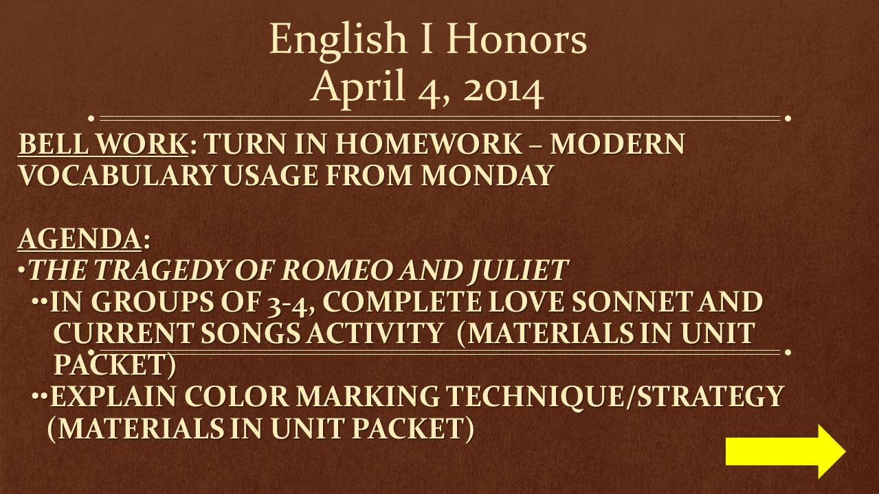 English I Honors April 4, 2014 Bell work: Turn in Homework – Modern vocabulary usage from Monday. Agenda: