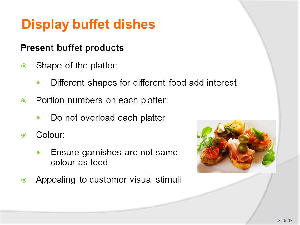 Display buffet dishes Present buffet products Shape of the platter: