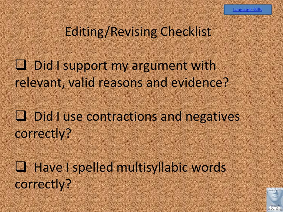 Editing/Revising Checklist
