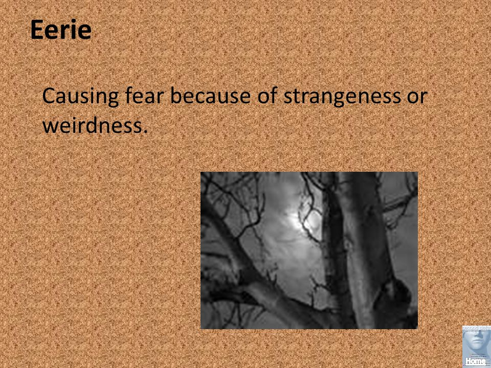 Eerie Causing fear because of strangeness or weirdness.