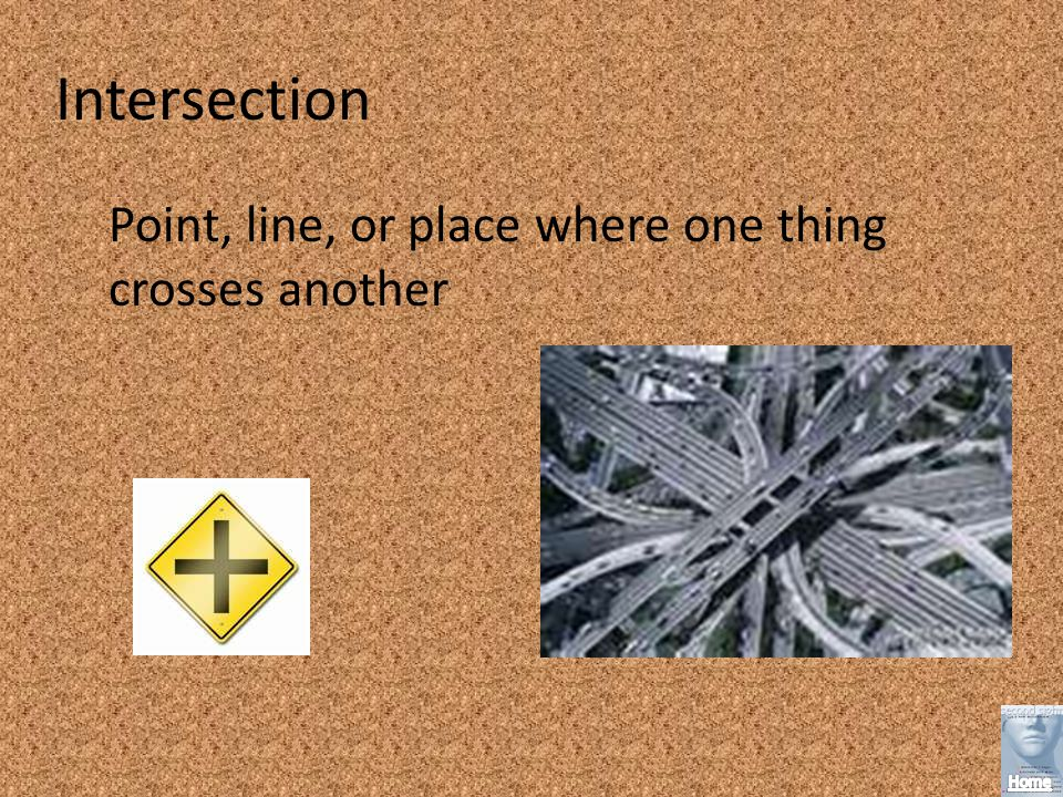 Intersection Point, line, or place where one thing crosses another