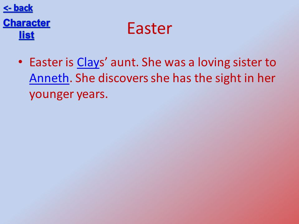 <- back Easter. Character. list. Easter is Clays' aunt.