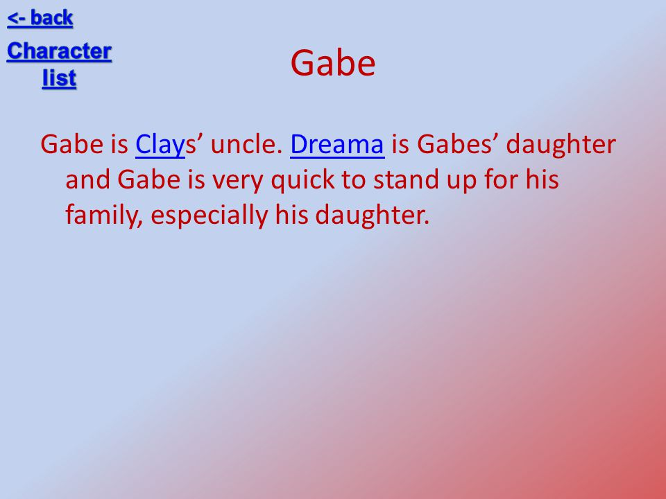 <- back Gabe. Character. list.