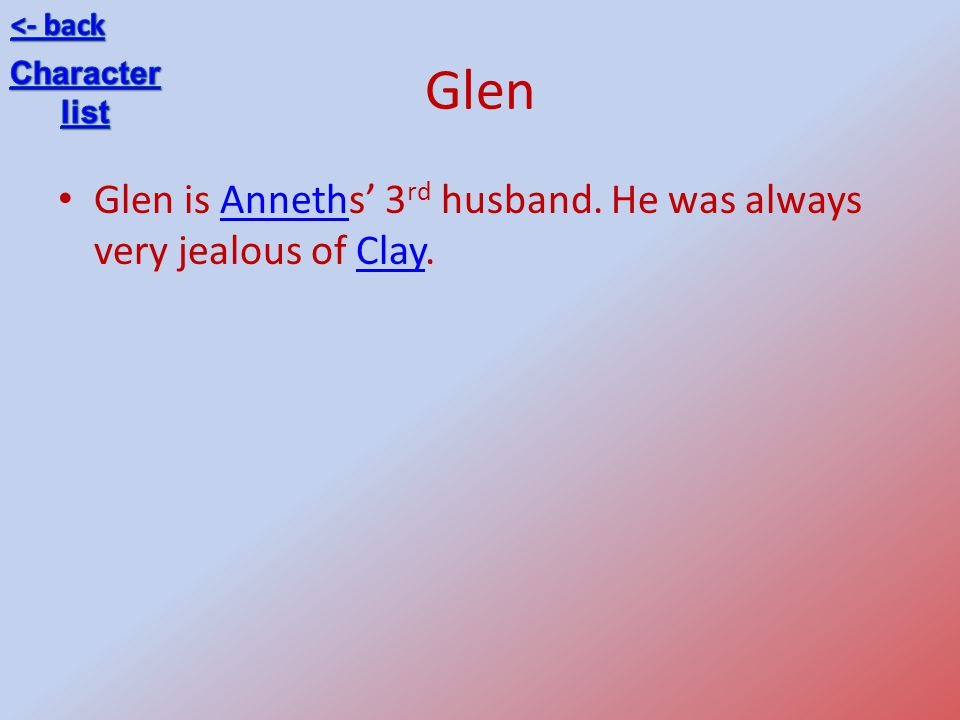Glen Glen is Anneths' 3rd husband. He was always very jealous of Clay.