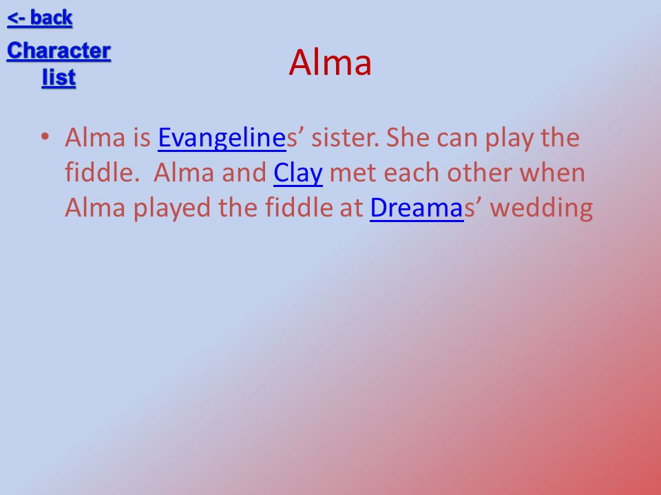 <- back Alma. Character. list.