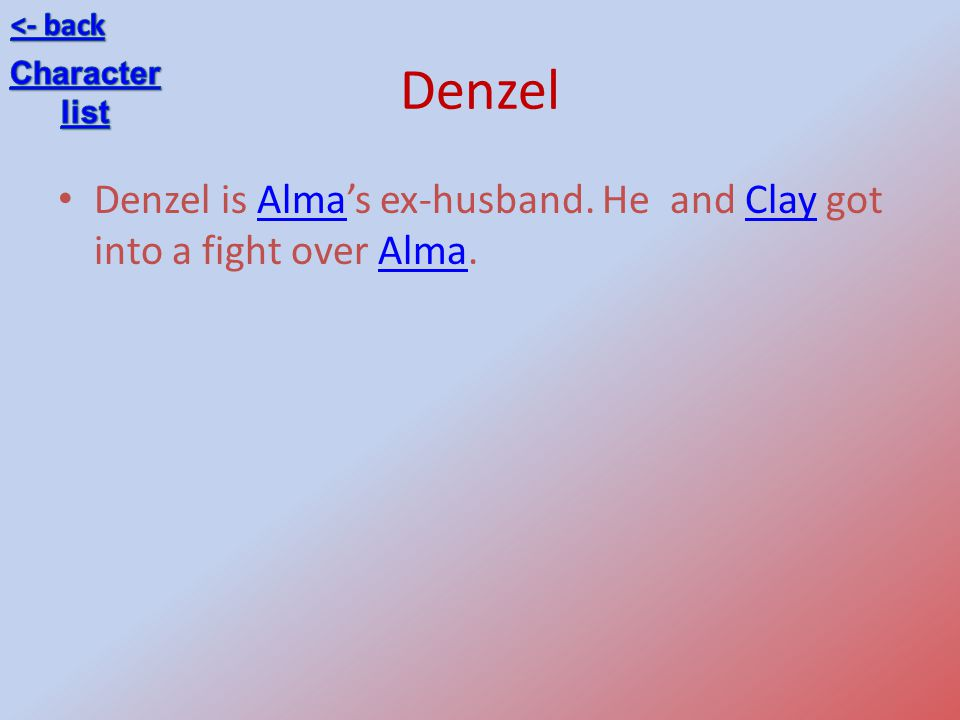 <- back Denzel Character list Denzel is Alma's ex-husband. He and Clay got into a fight over Alma.