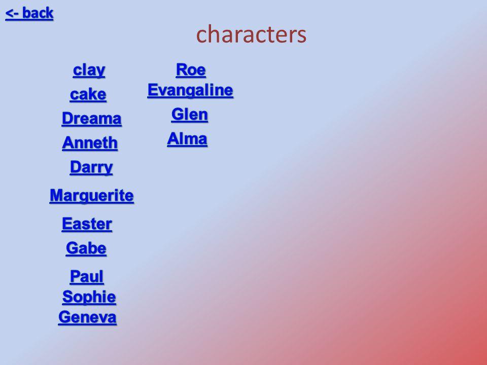 characters <- back clay Roe Evangaline cake Glen Dreama Alma Anneth