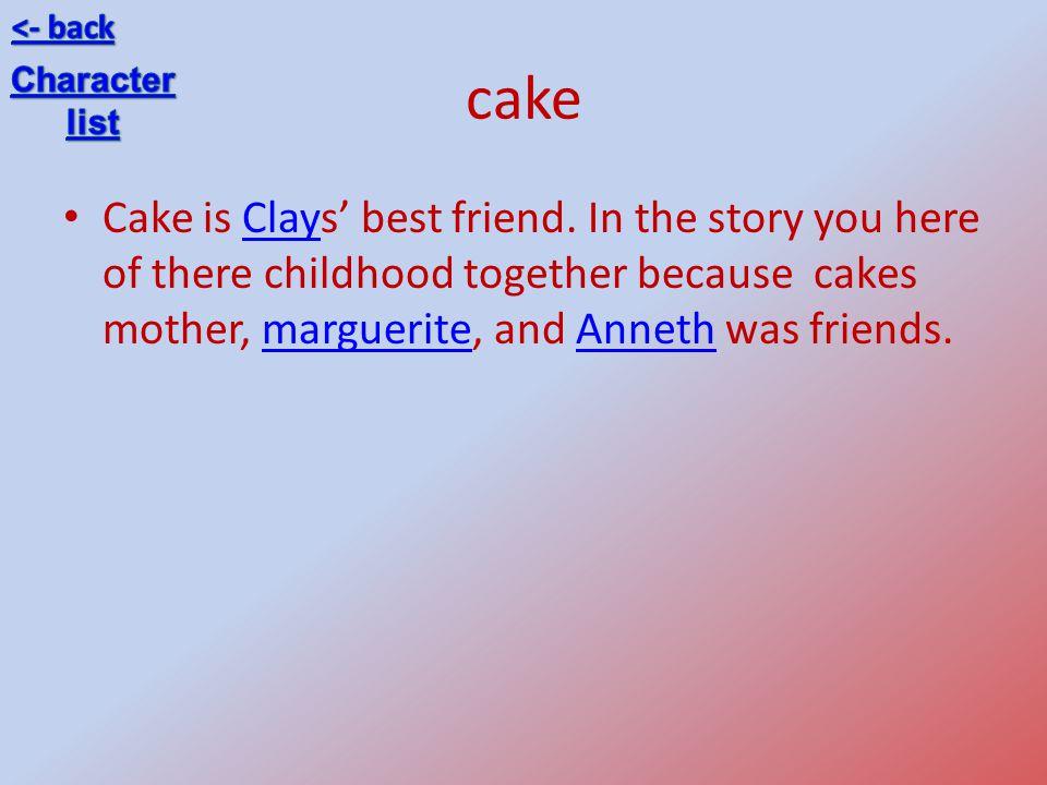 <- back cake. Character. list.