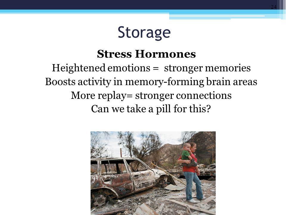 Storage Stress Hormones Heightened emotions = stronger memories