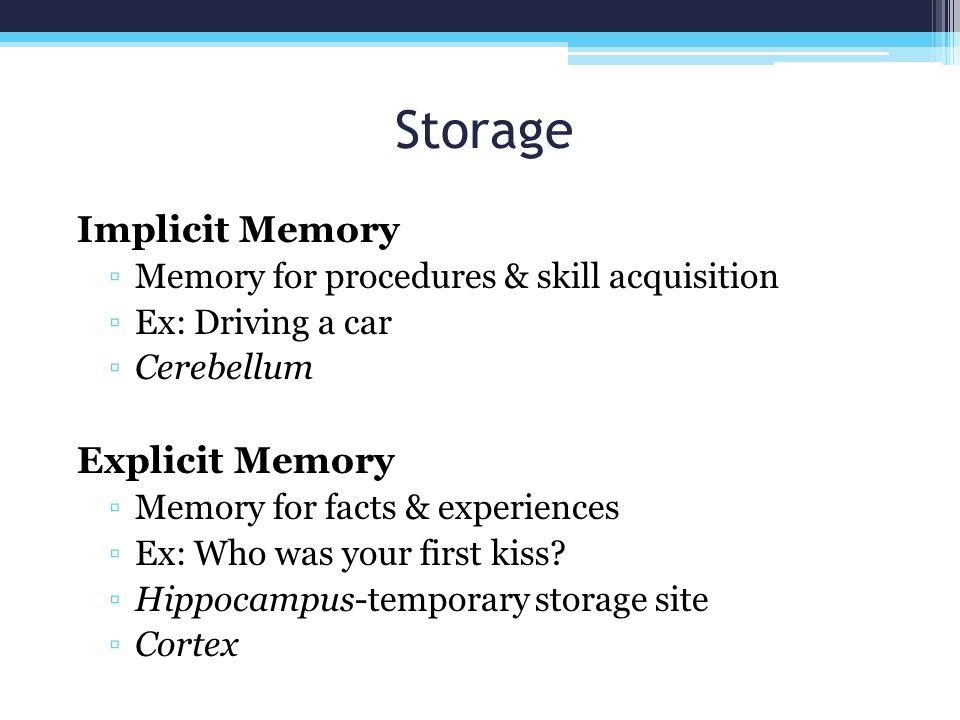 Storage Implicit Memory Explicit Memory