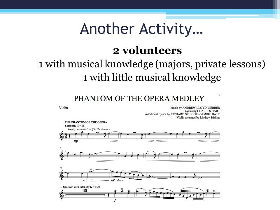 Another Activity… 2 volunteers