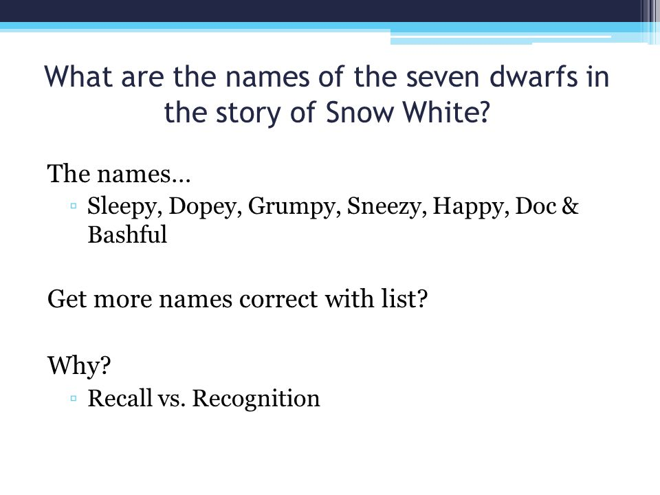 What are the names of the seven dwarfs in the story of Snow White