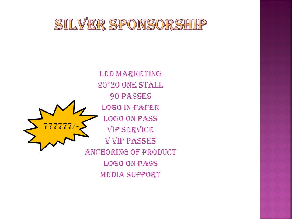 silver sponsorship LED marketing 20*20 one stall 90 passes Logo in paper Logo on pass Vip service V vip passes Anchoring of product Media support