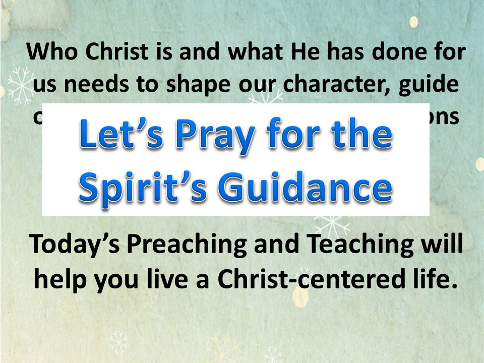 Let's Pray for the Spirit's Guidance