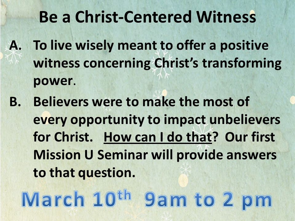 Be a Christ-Centered Witness