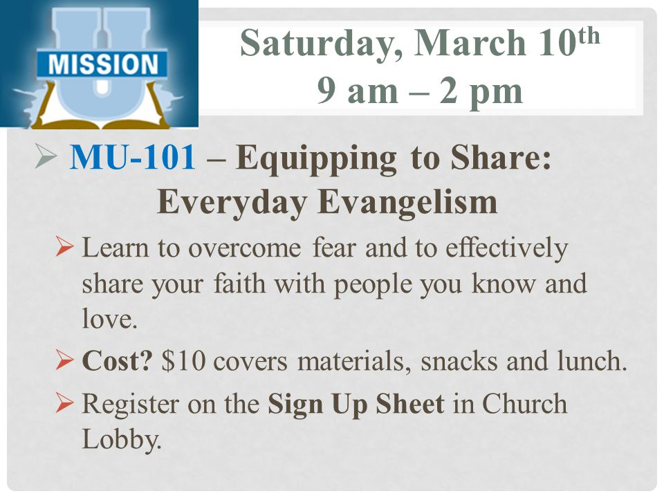 Saturday, March 10th 9 am – 2 pm