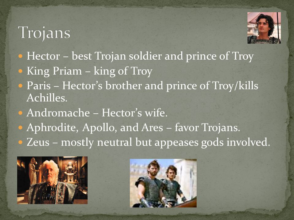 Trojans Hector – best Trojan soldier and prince of Troy