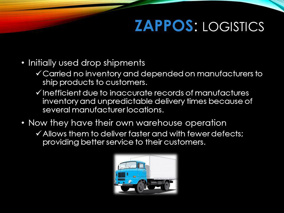 ZaPPOS: Logistics Initially used drop shipments