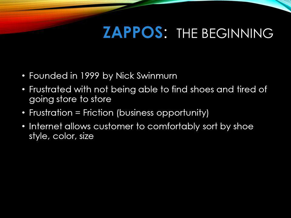 ZAPPOS: The Beginning Founded in 1999 by Nick Swinmurn