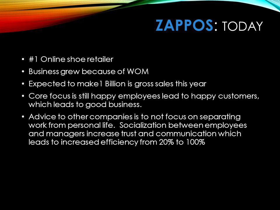 ZaPPOS: Today #1 Online shoe retailer Business grew because of WOM