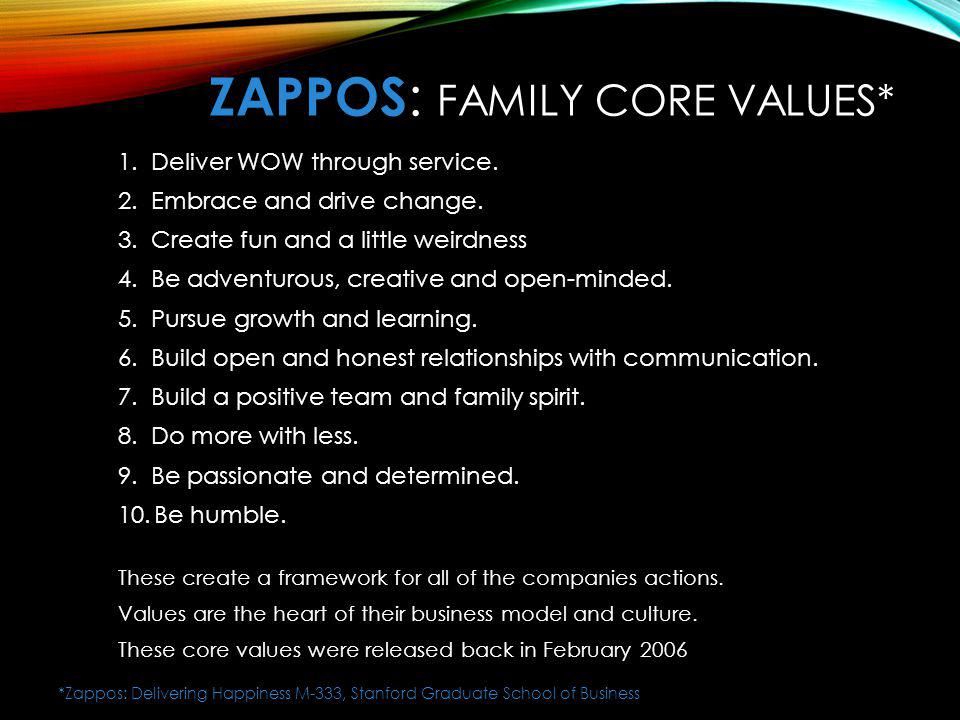 ZaPPOS: FAMILY Core Values*