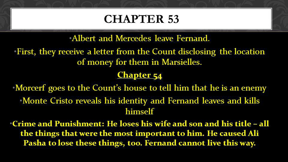 Chapter 53 Albert and Mercedes leave Fernand.