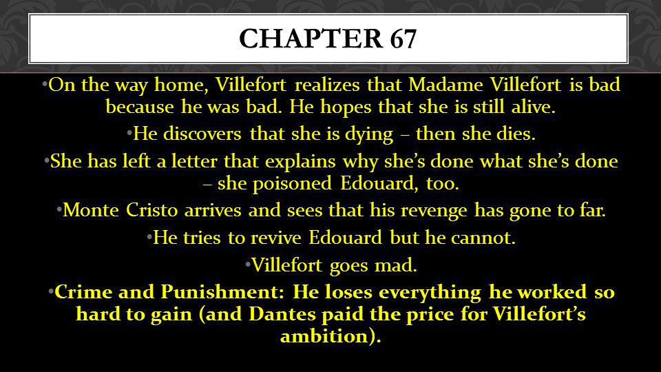 Chapter 67 On the way home, Villefort realizes that Madame Villefort is bad because he was bad. He hopes that she is still alive.