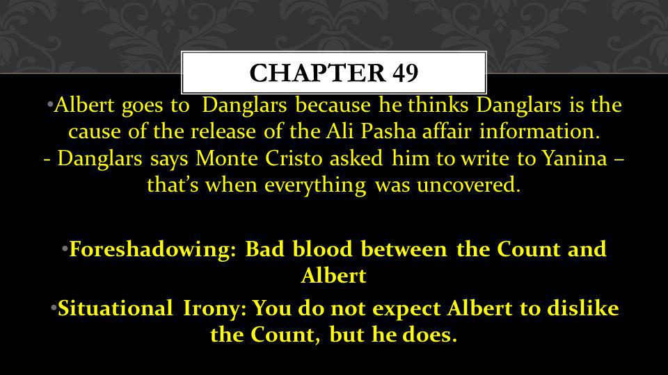 Foreshadowing: Bad blood between the Count and Albert