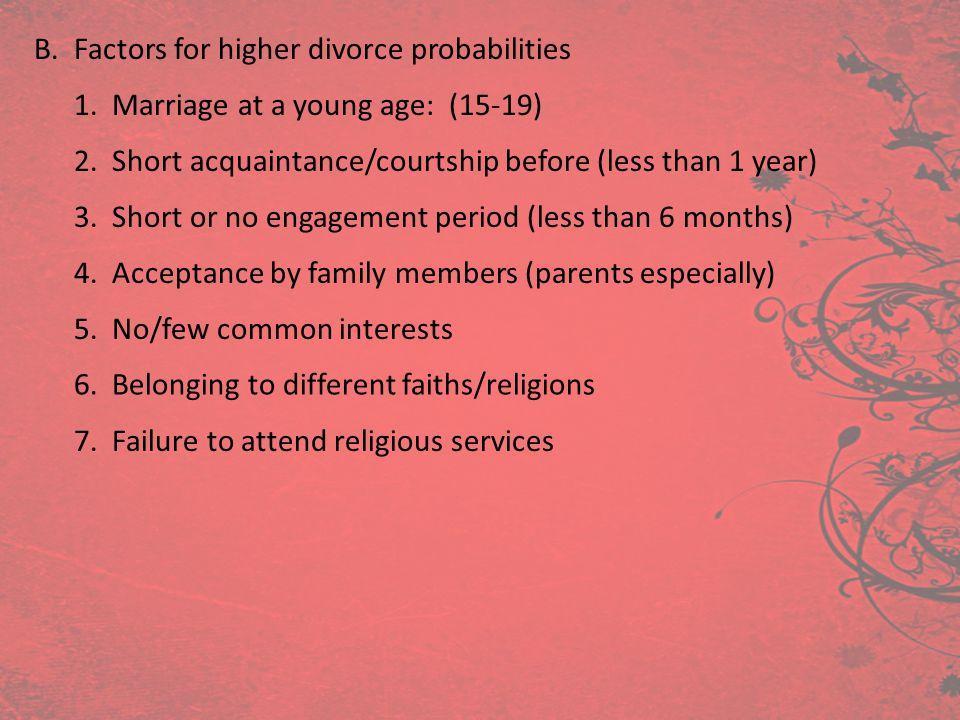 B. Factors for higher divorce probabilities