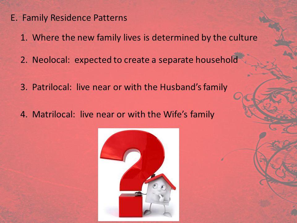 E. Family Residence Patterns