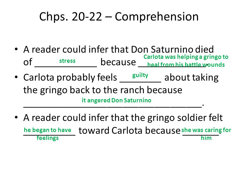 Chps. 20-22 – Comprehension A reader could infer that Don Saturnino died of ____________ because _____________.
