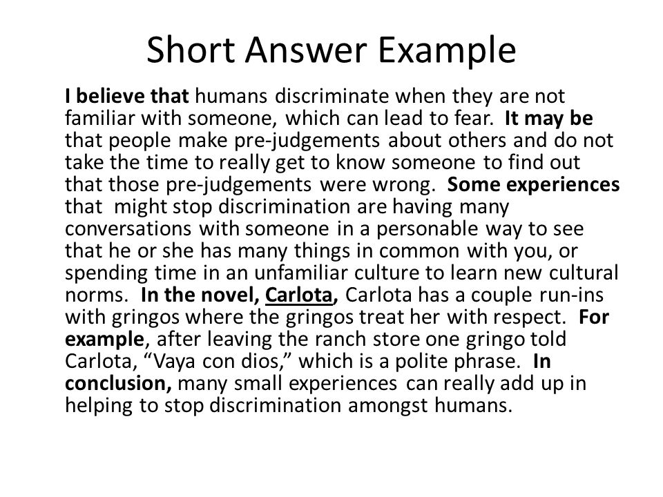 Short Answer Example