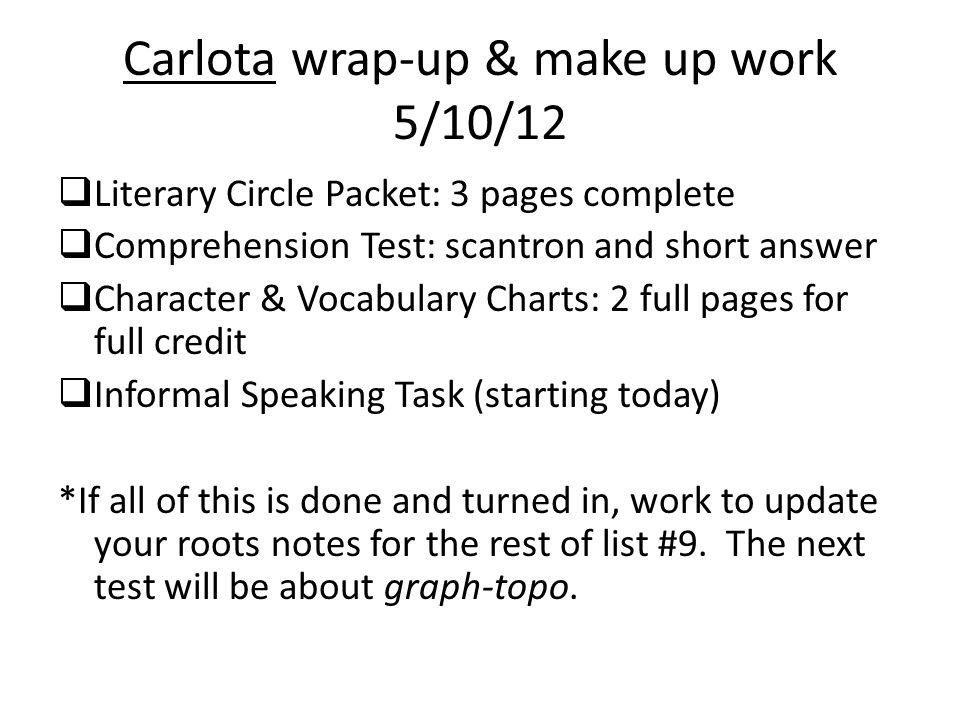 Carlota wrap-up & make up work 5/10/12