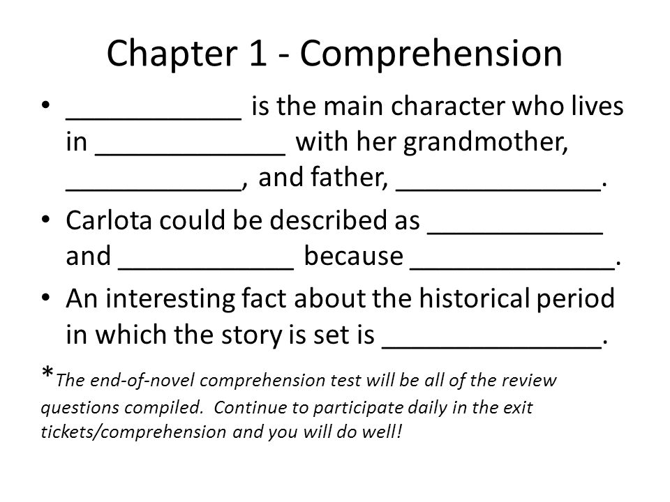 Chapter 1 - Comprehension