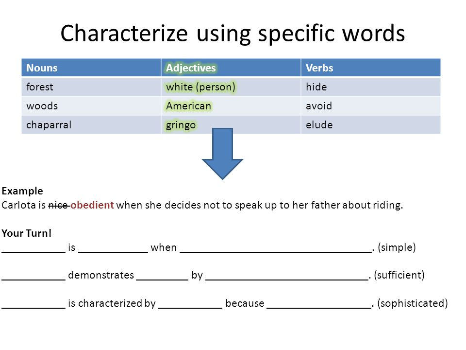 Characterize using specific words