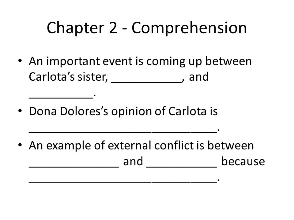 Chapter 2 - Comprehension