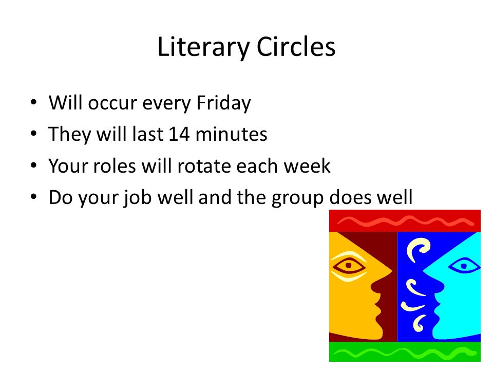 Literary Circles Will occur every Friday They will last 14 minutes